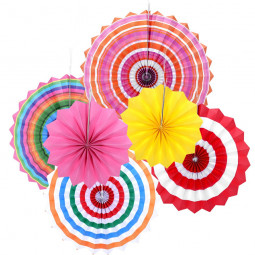6pcs Paper Fan Flowers Wedding Birthday Party Tissue Paper Table Decoration - Multicolors