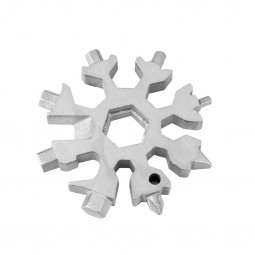 18 In 1 Stainless Tool Multi-Tool Portable Snowflake Shape Key Chain Screwdriver Kit - Silver