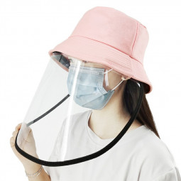 PULUZ PU464 Bucket Hat Protection Plaid Fisherman Cap with Protective Mask - Pink