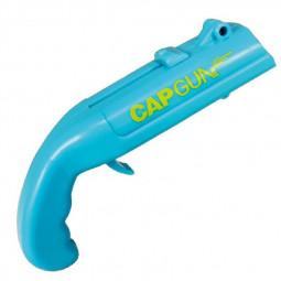 Cap GunCan Opener Spring Cap Catapult Launcher Gun Shape Bar Tool Drink Shooter Beer Bottle - Blue