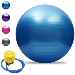 65cm Sports Fitness Yoga Ball Fitball Pilates Balance Gym Exercise Yoga Ball with Inflator - Blue