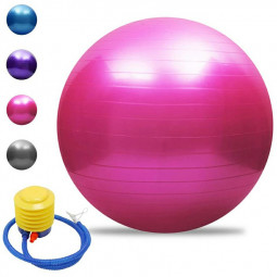 55cm Sports Fitness Yoga Ball Fitball Pilates Balance Gym Exercise Yoga Ball with Inflator - Pink