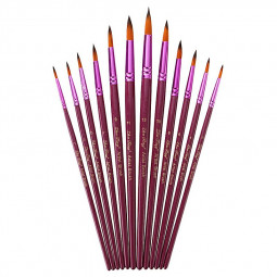 12 pcs Artist Paint Brushes Pointed Brush Set Watercolor Painting Acrylic Oil - Tip