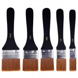 Set of 5 Harris Paint Brush Fine Nylon Brushes Wooden Handle