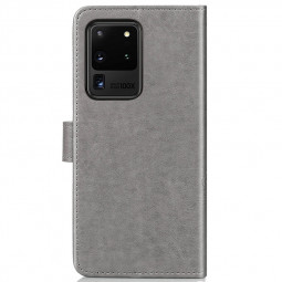 Clover Printed Phone Case Wallet Card Case Cover for Samsung Galaxy S20 Ultra - Grey