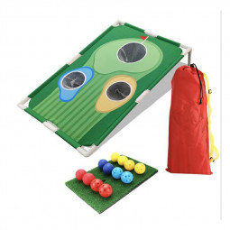 CLORIS Golf Swing Practice Hole Board Net kit with 12 Training Balls and 1 Hitting Mat