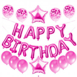 Happy Birthday Balloons Aluminium Film Letter Balloon Sequins Five-pointed Star Balloon - Rose Red