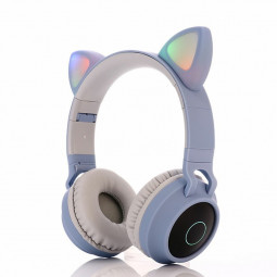 Wireless Cat Ear Bluetooth 5.0 Stereo Bass Headset LED Lights Earphone for Kids Adults - Light Blue