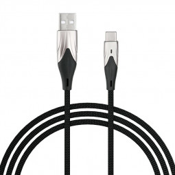 2m Type C USB 3.1 Charging Cable Braided Fabric Charger Line - Black