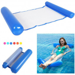 Folding Water Air Mattress Deck Floating Row Inflatable Hammock - Dark Blue