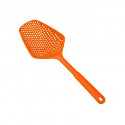 Large Colander Spatula Food Strainer Drain Water Shovel BPA Free Plastic Spoon - Orange
