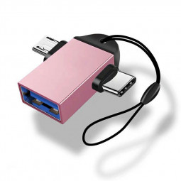 Type C 2 In 1 OTG Adapter Micro Usb Converter Usb C 3.0 Flash Disk Mouse Connector - Pink