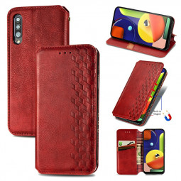 Wallet Flip Case Magnetic PU Leather Wallet Cover for Samsung Galaxy A50 A50S A30S - Red