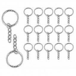 100pcs Silver Keyring Blanks Tone Key chains Key Split Rings 4 Link Chain Diameter 2.5mm