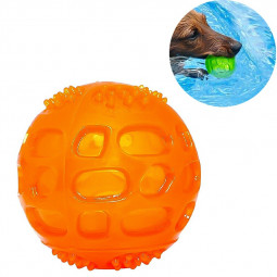Rubber Pet Dog Chew Toy Ball Floating Aggressive Indestructible Squeaky Play Toy - Orange
