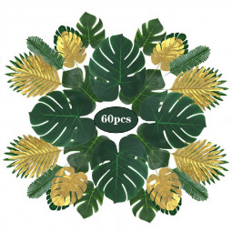 60 pcs 9 Kinds Artificial Tropical Palm Leaves Monstera Hawaiian Party Decorations