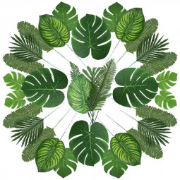 90 pcs 6 Kinds Tropical Artificial Palm Leaves Hawaiian Luau Jungle Beach Theme Party Decor