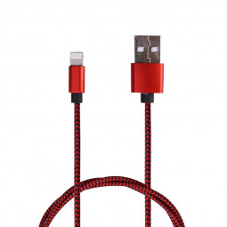 3M Fabric Braided 8pin Charger Cable iPhone Cables - Red