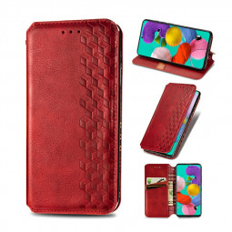 Magnetic PU Leather Wallet Case Flip Stand Cover for Samsung Galaxy A71 - Red