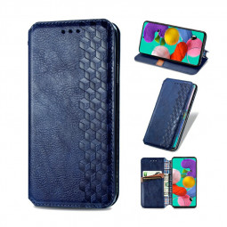 Magnetic PU Leather Wallet Case Flip Stand Cover for Samsung Galaxy A51 - Blue