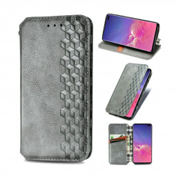 Flip Stand Phone Cover Magnetic PU Leather Wallet Case for Samsung Galaxy S10 Plus - Grey