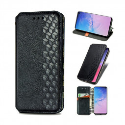 3d Embosed Magnetic PU Leather Wallet Card Case for Samsung Galaxy S10 - Black