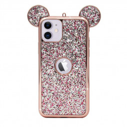 Bling Soft TPU Protective Cute Case with Mickey Ear for iPhone 11 - Rose Gold