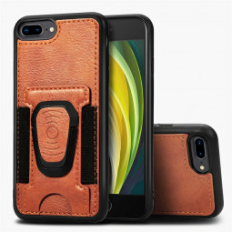 Leather Card Wallet Case Card Slot Shockproof Flip Cover for iPhone 7 Plus/8 Plus - Brown