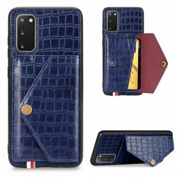 Leather Wallet Case Card Slot Shockproof Flip Cover Crocodile Pattern for Samsung Galaxy S20 - Blue