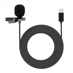Clip-on Lapel Mini Lavalier USB Mic Microphone for PC Recording