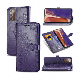 PU Leather Case Flip Stand Phone Cover with Card Slot for Samsung Galaxy Note 20 - Purple