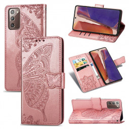 Butterfly Embosed PU Leather Case Phone Cover for Samsung Galaxy Note 20 - Rose Gold