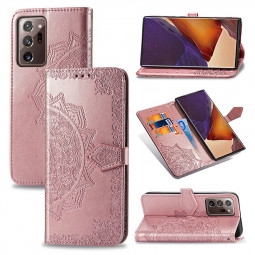 Datura Flowers Embosed Pattern PU Leather Case for Samsung Galaxy Note 20 Ultra - Rose Gold