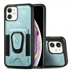 Shockproof Flip Phone Cover Leather Card Wallet Case with Card Slot for iPhone 11 - Blue