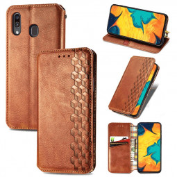Cube Pattern Embossed Leather Wallet Case Flip Stand Cover Magnetic Buckle for Samsung Galaxy A30 - Brown