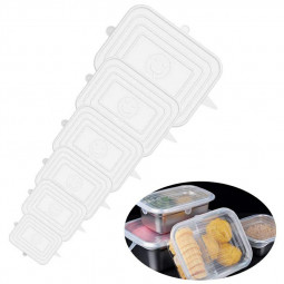 6 Pack 6 Different Sizes Rare Rectangular Silicone Food Covers - Clear