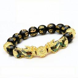 Feng Shui Black Obsidian Beads Pi Xiu Wealth Bracelet Good Luck Unisex Jewelry