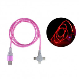 3 in 1 Flashing Type-c Micro USB and 8pin USB Charge Cable Android Cable iPhone Cable - Pink
