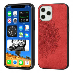 Mandala Embossed Fabric Phone Case TPU + PC Back Case for iPhone 12 Pro Max - Red