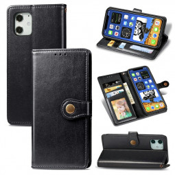 Magnetic Buckle PU Leather Wallet Case Flip Stand Cover for iPhone 12 - Black