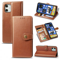 Magnetic Buckle PU Leather Wallet Case Flip Stand Cover for iPhone 12 Mini - Brown