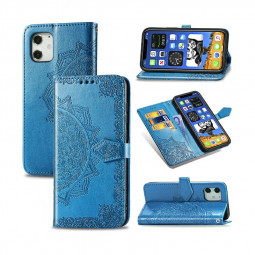Mandala Embossed Case PU Leather Case Wallet Cover for iPhone 12 Mini - Blue