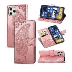Fashion Pattern PU Leather Case Wallet Cover for iPhone 12 Pro Max - Rose Gold
