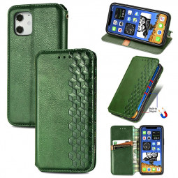Geometric Patterns Embossed Cover Magnetic PU Wallet Case with Stand Holder for iPhone 12 - Green