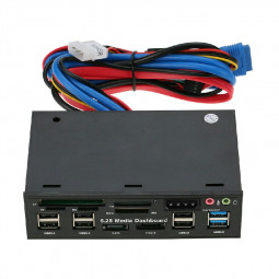 5.25 inch Multi Media Dashboard Front Panel Audio Port SD CF Card Reader e-SATA USB