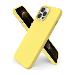 Liquid Silicone Gel Rubber Shockproof Cover Back Case for iPhone 12 Pro Max - Yellow