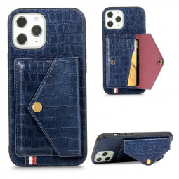 Crocodile Pattern Leather Wallet Case Card Slot Shockproof Back Cover for iPhone 12 Pro Max - Blue
