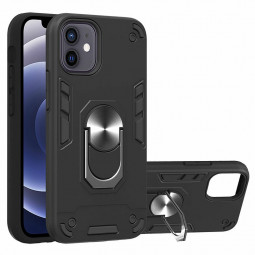 Armor Heavy Duty Dual Layer Ring Shockproof Hard Protective Case for iPhone Mini - Black