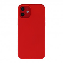 Liquid Silicone Gel Rubber Shockproof Cover Back Case for iPhone 12 Mini - Red