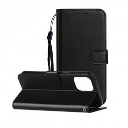 Magnetic PU Leather Wallet Flip Stand Case Cover for iPhone 12 Mini - Black